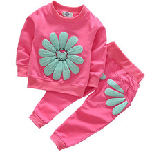 New Spring Autumn Children Clothing Suits Sunflower Children Long Shirt + Pants Kids Girls Tracksuit Boys Clothes Set