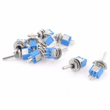 10pcs Blue SPDT Latching On/On 2 Position Switch Mayitr Miniature Toggle Switches AC 125V/3A For Switching Lights Motors(China)