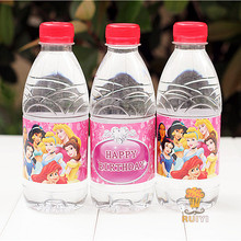 24pcs Princess Snowwhite Airel Cinderella water bottle label candy bar decoration kids birthday party supplies favors AW-0617(China)