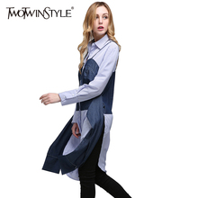 Buy TWOTWINSTYLE 2017 Summer Women Lace Striped Tops Shirts Blouses Patchwork Denim Long Sleeves Side Slit Tunic Clothes Casual for $25.77 in AliExpress store