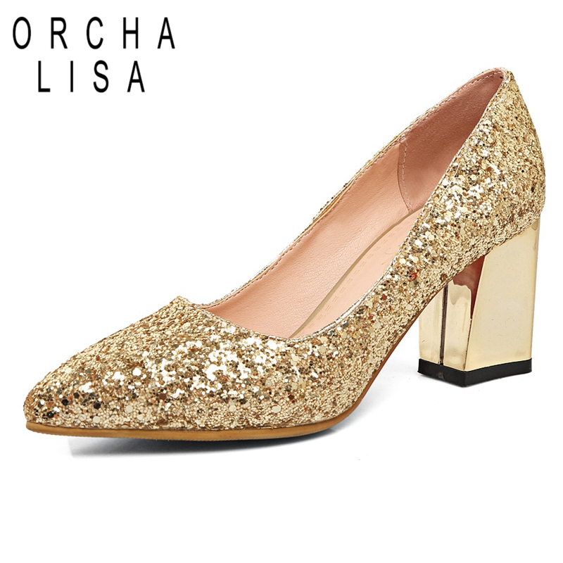 ORCHA LISA Pointed toe 2018 New Spring summer shoes Women pumps Glitter  Rhinestone Boat shoes Fashion 4703de29cbfa