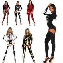 2016 New Adult Women Halloween Role Playing Costume sexy catsuit Human skeleton skull slim jumpsuit + socks