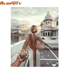 RUOPOTY Frameless DIY Painting By Numbers Romantic Modern Wall Art Picture Hand Painted Oil Painting For Living Room With Box