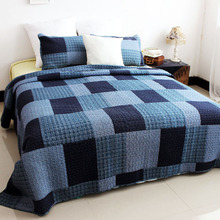 Home Blankets Quilts for Summer Spring Cotton Quilt Bedding Set 3PCS/set Air-Conditioner Quilt  Blue Plaid Bedspread