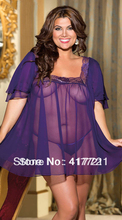Free Shipping XXL Size Design New Arrival Fashion Short Sleeve Pink Purple Colors Available Transparent Sexy Plus Size Lingerie
