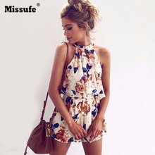 Buy Floral Print Chiffon Playsuit Women 2018 Summer Sexy Shoulder Halter Sleeveless Boho Rompers Jumpsuit Beach Party Overalls