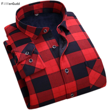 FillenGudd New Fashion Male Cheap Quality winter shirt men Plaid Long Sleeve Thermal Warm Velvet padded China Mens Clothing(China)