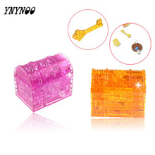 YNYNOO 3D Crystal Puzzle Treasure Box with key & LED Light DIY Container Jigsaw Creative Toys Birthday & Christmas Best gifts(China)