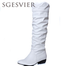 SGESVIER BOOTS fashion new arrival Winter Mid-Calf Women Boots Black White Brown flats heels half boots autumn Snow shoes OX018