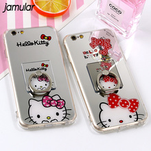 JAMULAR For iphone X 8 7 Plus Case Cartoon Mirror TPU Soft Silicon Hello Kitty Case For iphone 7 6 6s Plus Cases Ring Stand Capa(China)