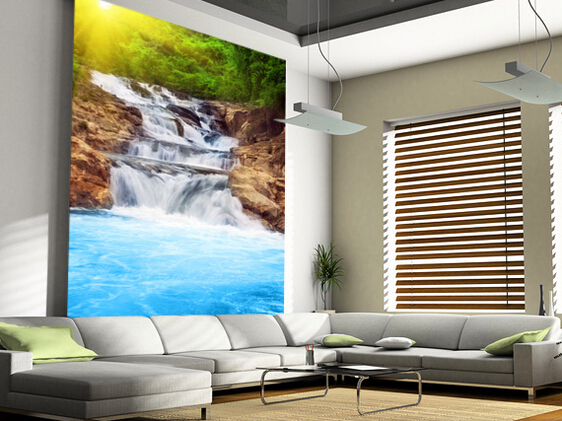 Custom landscape wallpaper, Beautiful Waterfall 3D wallpaper for living room bedroom kitchen wall waterproof PVC papel de parede<br><br>Aliexpress