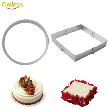 Delidge 2 pc Telescopic Circular Square Mousse Cake Circle Stainless Steel Adjustable Chocolates Bread Birthday Cake Mold(China)