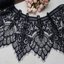 6yards/lot Free shipping Handmade diy clothes accessories white black noble eyelash lace decoration material 18cm RS353