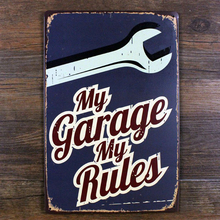 Family retro garage decoration - my garage my rules metal tin sign plaque for Auto garage art vintage decor(China)