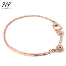 Top Quality H196 OL Style CZ Crystal Rose Gold Color Bracelet Jewelry   Austrian Crystal Wholesale