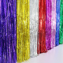 10PCS shine Gold Silver 1Mx2M Metallic Tinsel Curtain Foil Room Shiny Pub party Stage wedding Church Decor Background 7 Color(China)