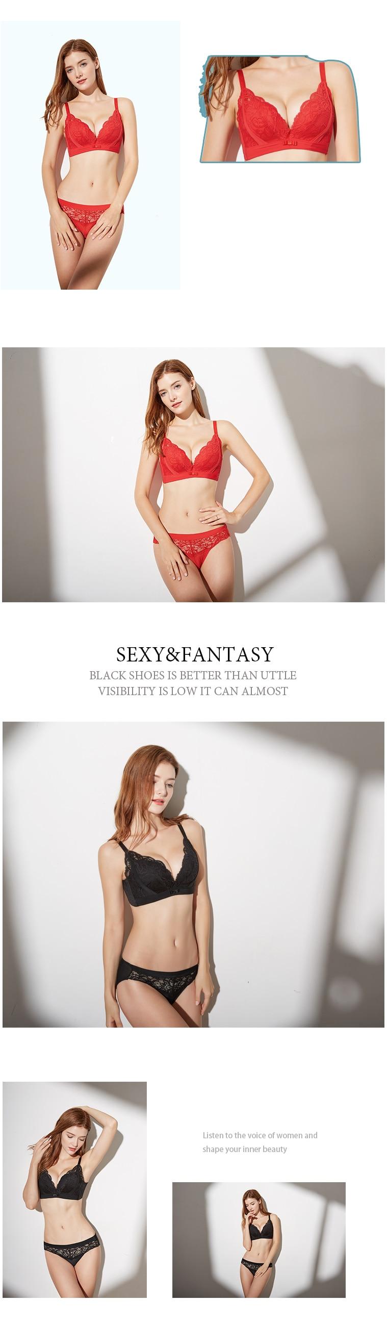 Shitagi 2017 Lace Underwire Bra Briefs Set Sexy Push Up B Cup Lady Underwear Lingerie Bra And Panty Set Transparent Bralette