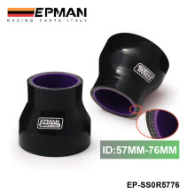 "EPMAN - 2.24""-3""57mm-76mm Stoney Racing Silicone Straight Reducer Hose Joiner Coupler Turbo Intercooler Black For VW EP-SS0R5776"