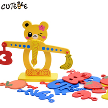 CUTEBEE Wooden Toys for Children Montessori Toy Math Toy Cube Educational Balance Toys Cute Bear Fruit for Kids Baby Gift(China)