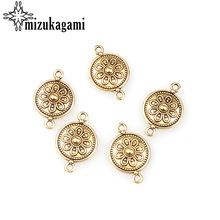 10pcs/lot 27*17MM Retro Gold Zinc Alloy Floret Flowers Connector Charms Pendants For DIY Jewelry Bracelet Accessories(China)