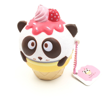 cute Panda cup Cream Squishy Super Slow Rising Phone Straps Scented Charms Key Chain Food collection Toys animals Simulation(China)