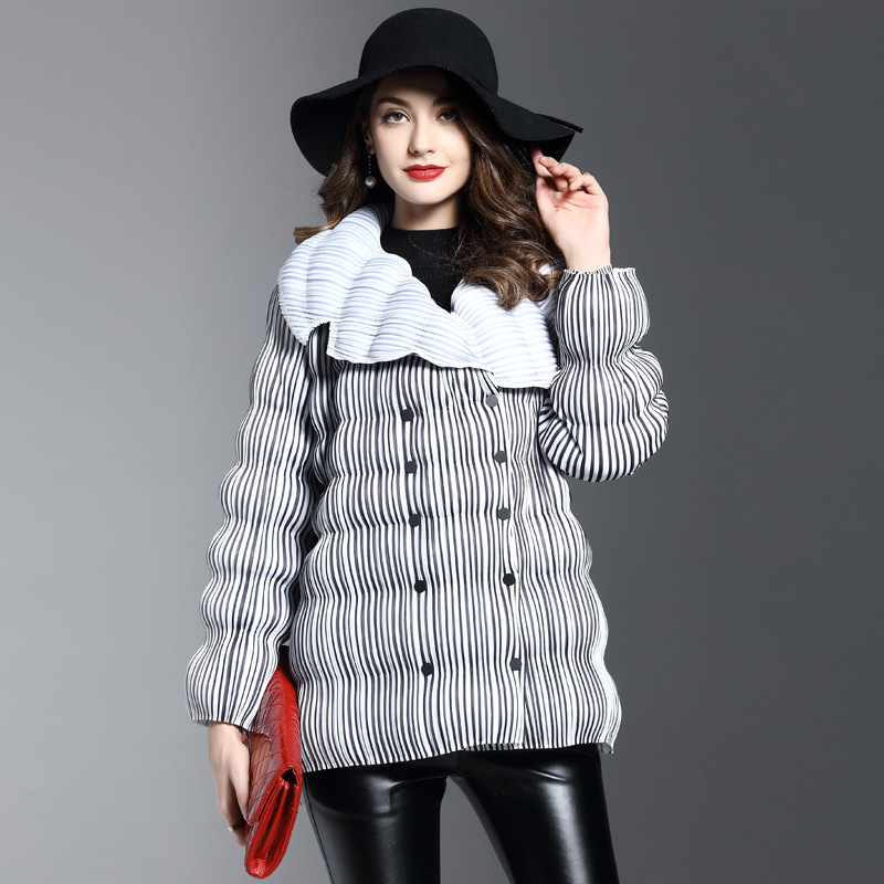 Winter fashion womens thick parkas jackets Pleated Lapel long-sleeved stripe thin Female double-breasted fold coatОдежда и ак�е��уары<br><br><br>Aliexpress