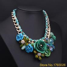Adjustable Fashion Women Gold Chain Rhinestone Crystal & Rose Big Flower Necklace  4TK4