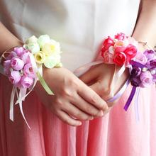5color 8cm New arrival Lovely fairy bride Flower wrist band for wedding party club cloth+ribbons(China)