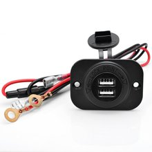 Portable Waterproof  Car Auto Motorcycle Scooter 2.1A Dual USB Power Supply Socket Charger Adapter