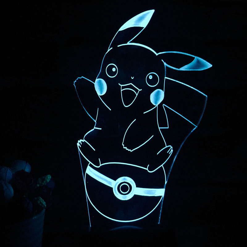 2017 NEW Pokemon GO Pikachu Action&amp;Toy Figure Gift 3D LED Table Lamp Made of PMMA Have 7 Color Changing Figures Pokeball Figures<br><br>Aliexpress