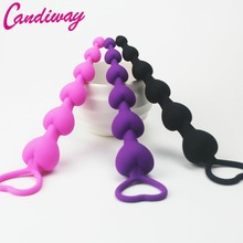 Buy Heart beads Soft Anal Plug anus Toys Big Anal Balls Silicone G-Spot Stimulating Butt Plugs Adult Sex Toys Couple Sexy
