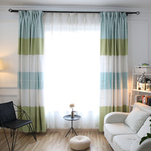 Window Kitchen Curtains For Bedroom Living Room Ready Made Curtains Modern Sheer Curtain Colorful Stripe Curtains Drapes S281&30