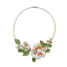 2016 free shipping Europe and the United States foreign trade jewelry wholesale drip flowers leaves necklace