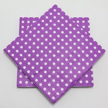 20pcs\lot Baby Shower Purple Polka Dots Paper Napkins Happy Birthday Party Artistic Printing  Kids Favors Decoration Supplies