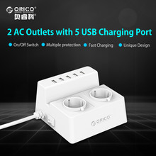 ORICO ODC Office Home 2 AC EU Power Strip with 5 Ports USB Charger-White/Black(China)