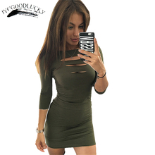 Fashion Cut Out Chest Sexy Dresses Slim Bodycon Short Club Dress Plus Size Women Clothing Package Hip Bandage Dresses Party Wear