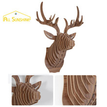 Deer Head Wall Decor 3D Puzzle Wooden Elk Hanging Decoration DIY Wall Sticker Animal Sculpture Craft Home Decoration(China)