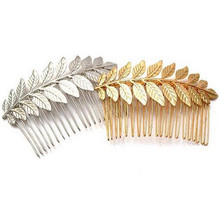 Cheap Fashion Gold Plating Leaf Hair Comb 2016 New Women Boho Chic Hair Jewelry Bridal Hair Accessories(China)