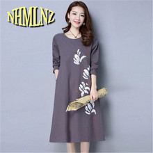 2017 New Leisure Han edition Large size Round collar Medium long Women Dress Spring Cotton Linen Printing Women Dress NEW226