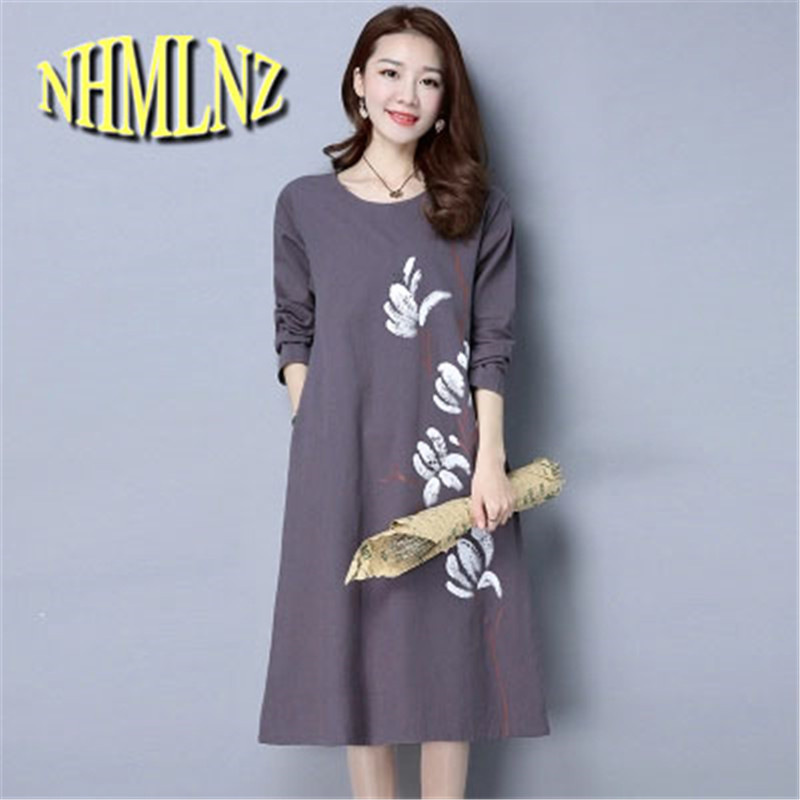 2017 New Leisure Han edition Large size Round collar Medium long Women Dress Spring Cotton Linen Printing Women Dress NEW226(China)
