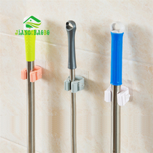 JiangChaoBo Kitchen Wall Mounted Mop Rack Bathroom Storage Mop Broom Holder 6 Color 1Pcs(China)