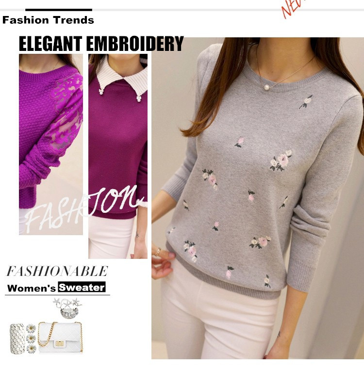 S-3XL New Youth Women's Sweater Autumn Winter 17 Fashion Elegant Peach Embroidery Slim Girl's Knitted Pullover Tops Female 1