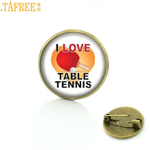 TAFREE Brand I Love Table Tennis brooches vintage fashion Ping Pong sports men women badge pins jewelry exquisite gifts SP314