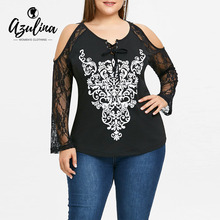 Buy AZULINA Blouse Shirt Plus Size Cold Shoulder Embroidery Graphic Long Sleeve Ladies Tops Women Clothing Casual Shirt Blusas 5XL for $11.99 in AliExpress store