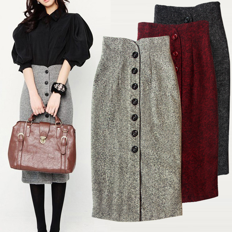 Women-retro-Winter-Black-High-Waist-Tweed-Skirt-Autumn-and-winter-tweed-skirt-single-breasted-high