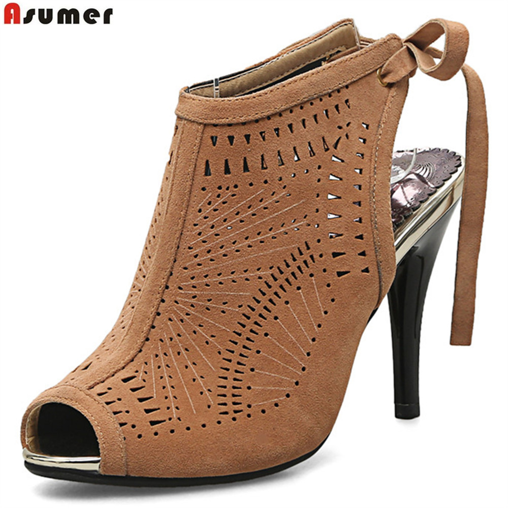 ASUMER black brown peep toe cross tied spring autumn ladies prom shoes big size 32-44 sexy women high heels shoes<br>