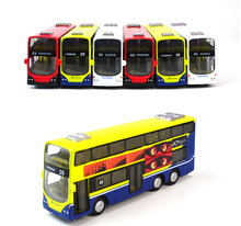 Hot Sale In Stock Sale 1:43 Mini Alloy Car Pull Back London Double-Decker Bus Toy For Children Can Open Door Cars Model Toys(China)
