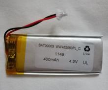 free shipping 2pcs/lot 452050 402050 3.7v-4.2v 400mah polymer lithium ion battery li-po battery rechargeable battery