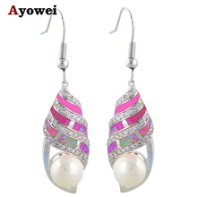 New Coming  AAA Zirconia Gorgeous Pearl Purple Fire Opal Fashion Silver Stamped drop Earrings Fashion Jewelry OE219A