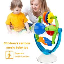 Cartoon Kids Baby Music Light Sucker Squigz Toy Turn Over Roll Desk Table Game Musical Instruments Toys For Children(China)